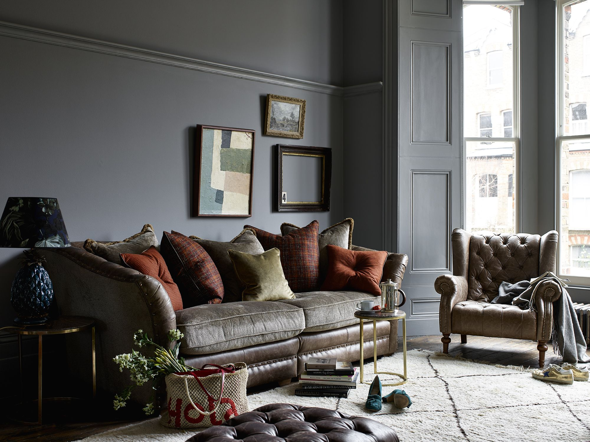 Alexander James Henderson Grand Split Sofa Leather Satchel Biscotti With Fabric Option 1 With Dark Wood Fee British Sofa Comfortable Sofa Living Room Decor