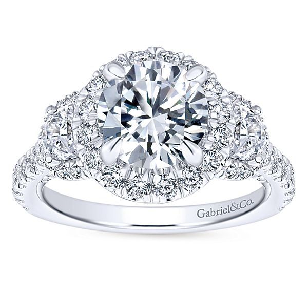 Andrea 18k White Gold Round 3 Stones Halo Engagement Ring angle 5