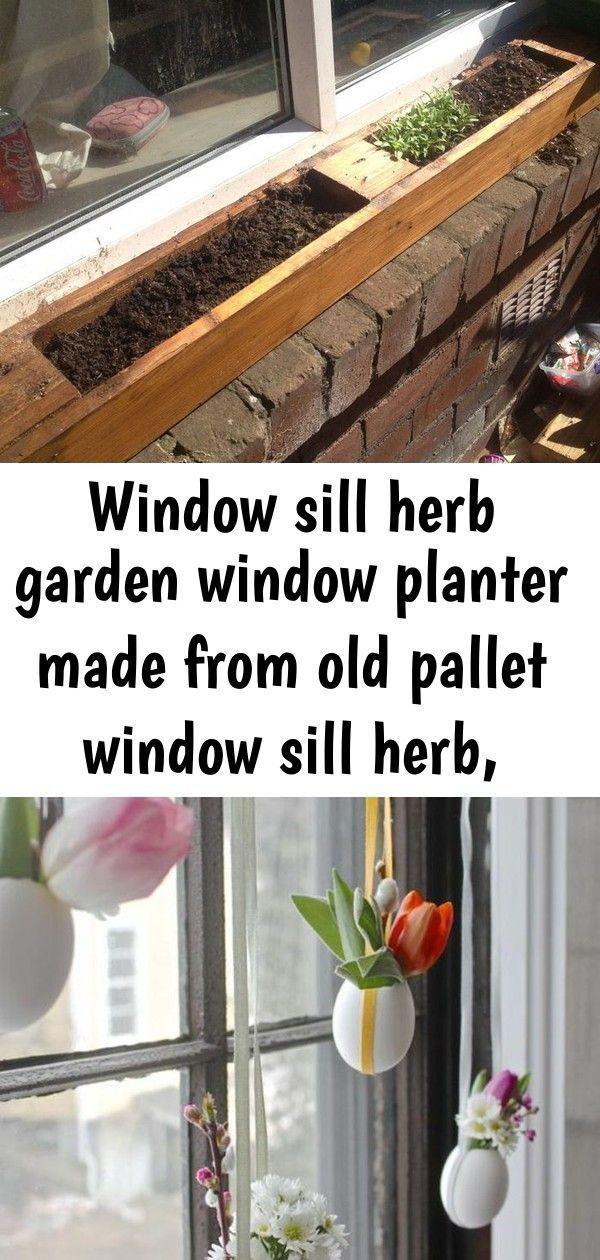 Fensterbank Kräutergarten Fenster Pflanzer aus alten Palettenfensterbank sie