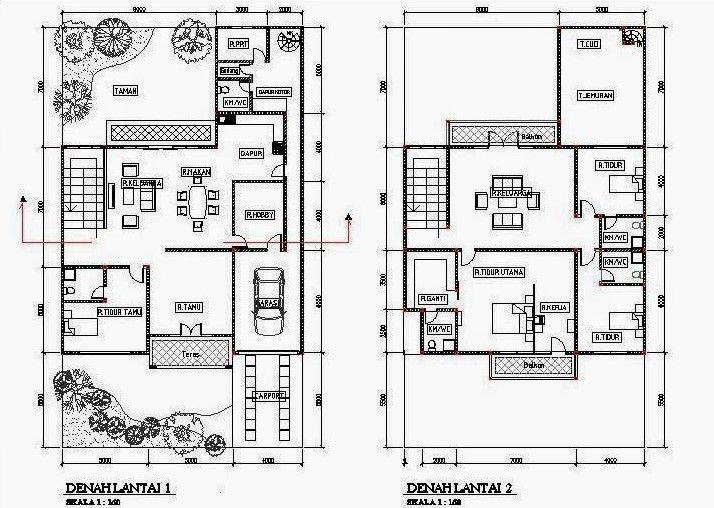 Denah Desain Rumah Minimalis Modern  Kamar Tidur D
