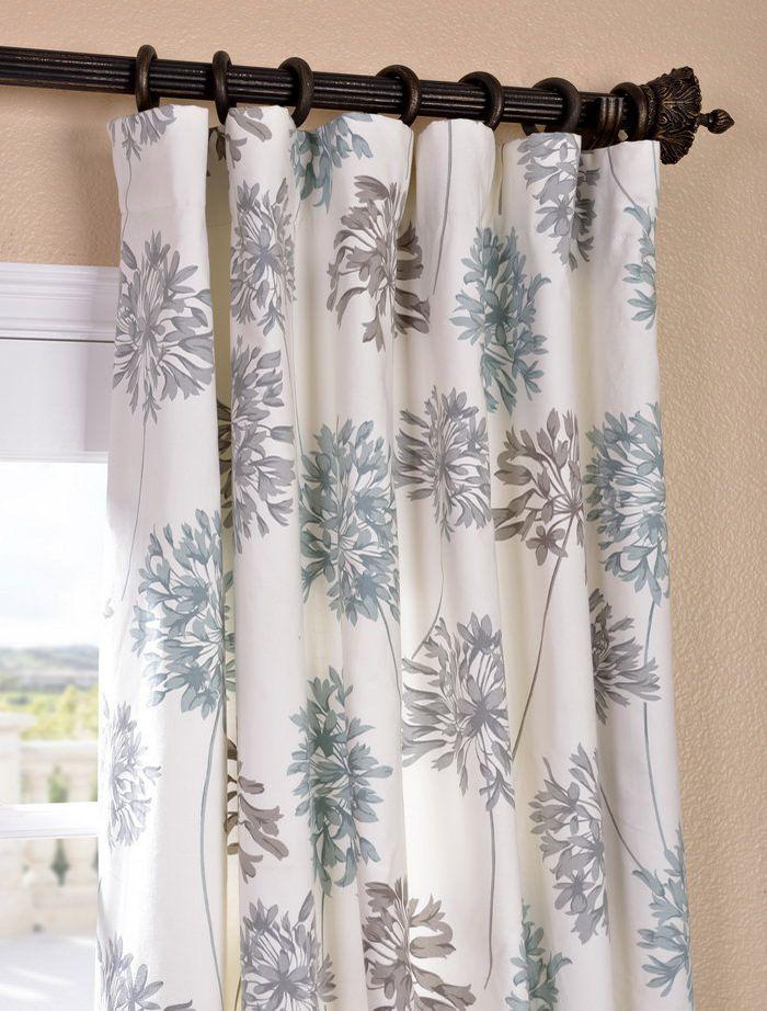 Get Allium Blue Gray Printed Cotton Curtain Drapes Blue Grey Curtains Brown Curtains Printed Cotton Curtain