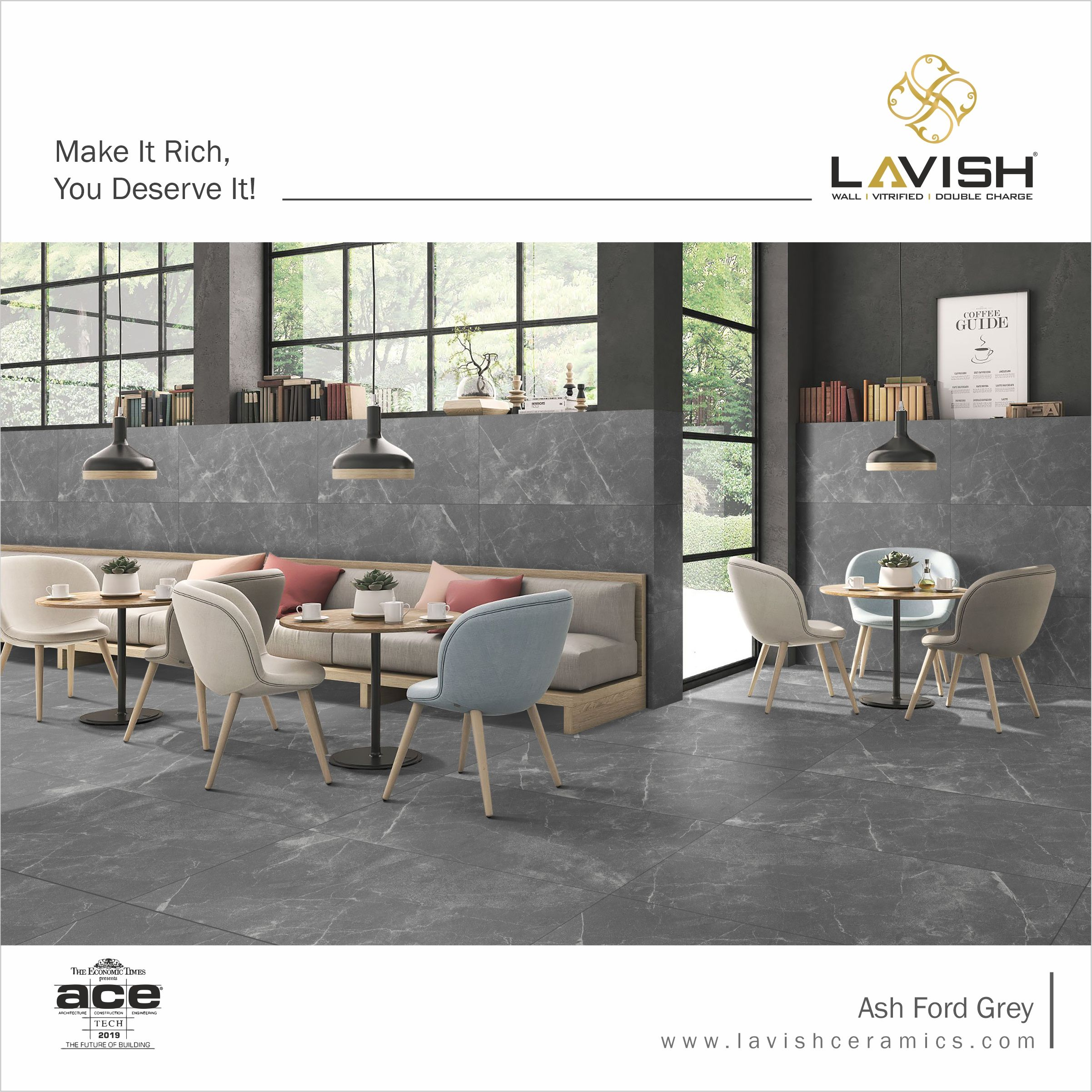 Make It Rich You Deserve It With Lavish Ceramics Presents New Design Of Ash Ford Grey Tiles Tile Manufacturers Ceramic Tiles Fabric Decor