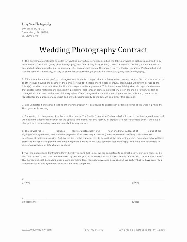 Wedding Photography Contract Template Best Of 11 Best ...