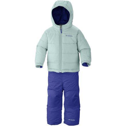 infant girl snowsuits pale green-blue