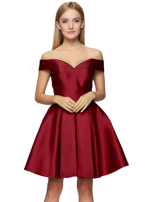 Women\'s off Shoulder Back Lace-up Fit Flare Cocktail Dress - ASVOGUE.com
