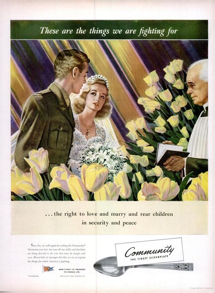 WWII era ad for Community Silverplate featuring a soldier and his bride, ca. 1940s.