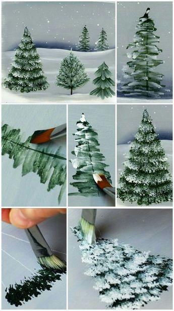 Learn How To Paint A Winter Christmas Tree Kerst Schilderijen Kerst Schilderij Verfkunst