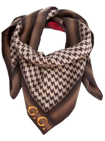 eda4b910e5d Brown and white hounds tooth check scarf from Gucci featuring red and green  stripe and gold G logo.