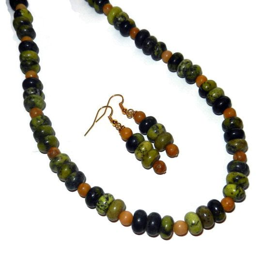 Green and Yellow Marbled Necklace and Earring by CloudNineDesignz