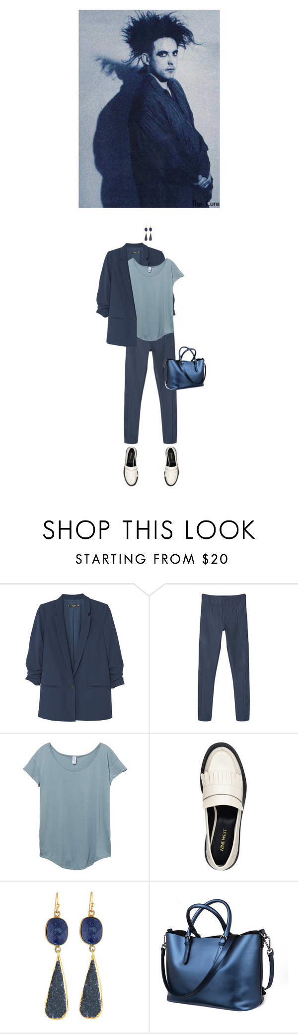 """""""Untitled #1885"""" by hologrammar ❤ liked on Polyvore featuring MANGO, Nine West, NAKAMOL, suit and robertsmith"""