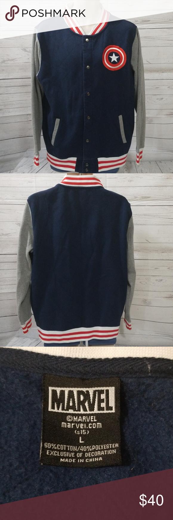 Mens Marvel Captain America Varsity Jacket L Mens Marvel Captain America Varsity Jacket. Sz Large.  Near brand new condition. Marvel Jackets & Coats Lightweight & Shirt Jackets #varsityjacketoutfit