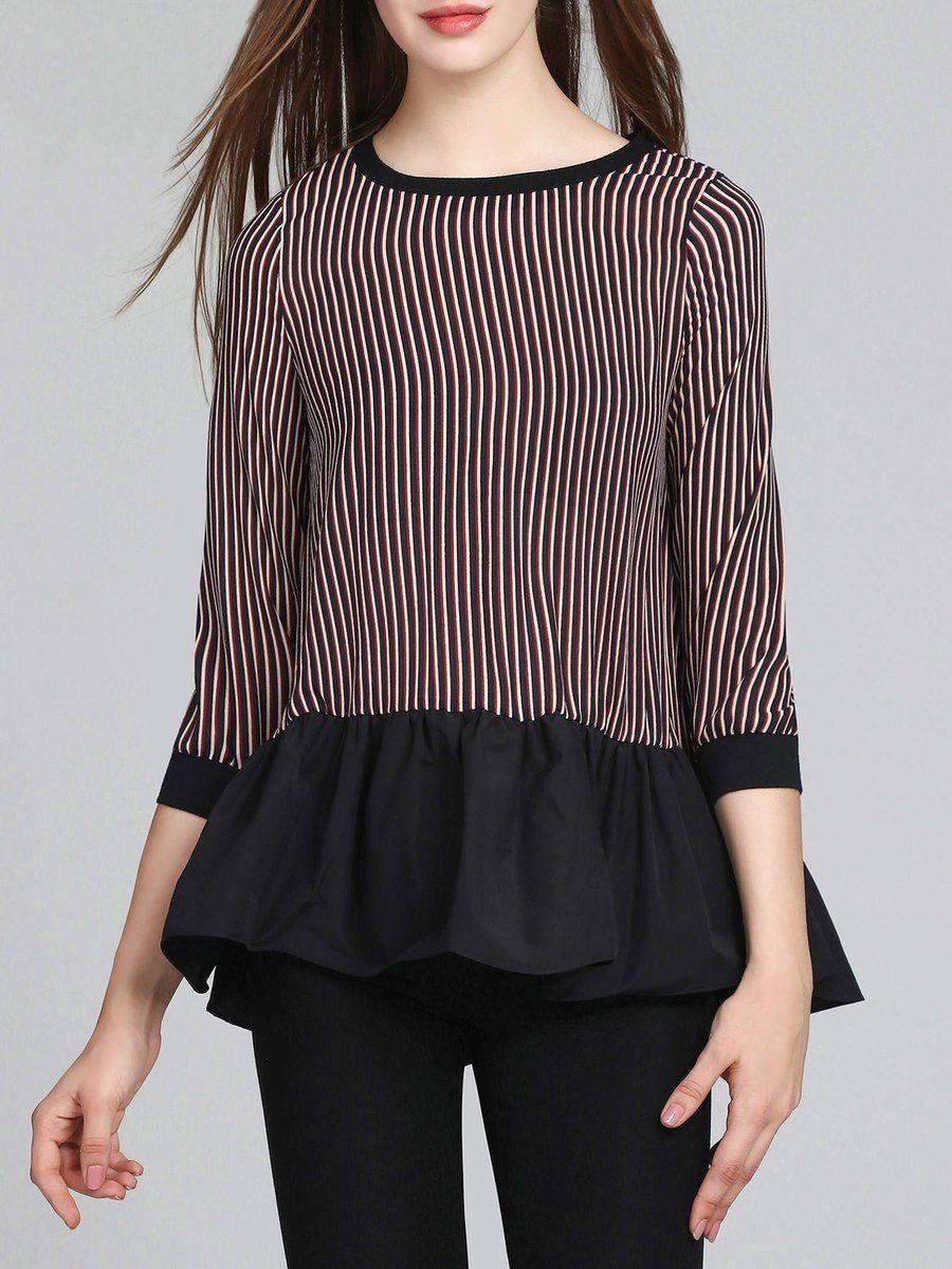 #AdoreWe #StyleWe Blouses - Designer Fengyiyi Stripes 3/4 Sleeve Printed Casual Blouse - AdoreWe.com