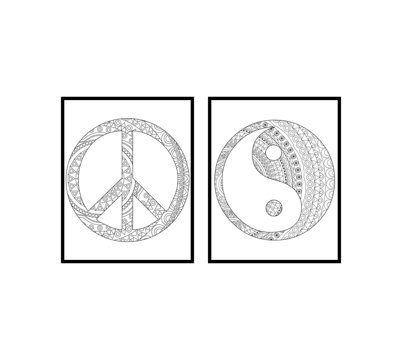 Coloring pages yin yang - Peace And Ying Yang Coloring Pages Adult Coloring Book Adult Coloring Pages Peace Sign Wall