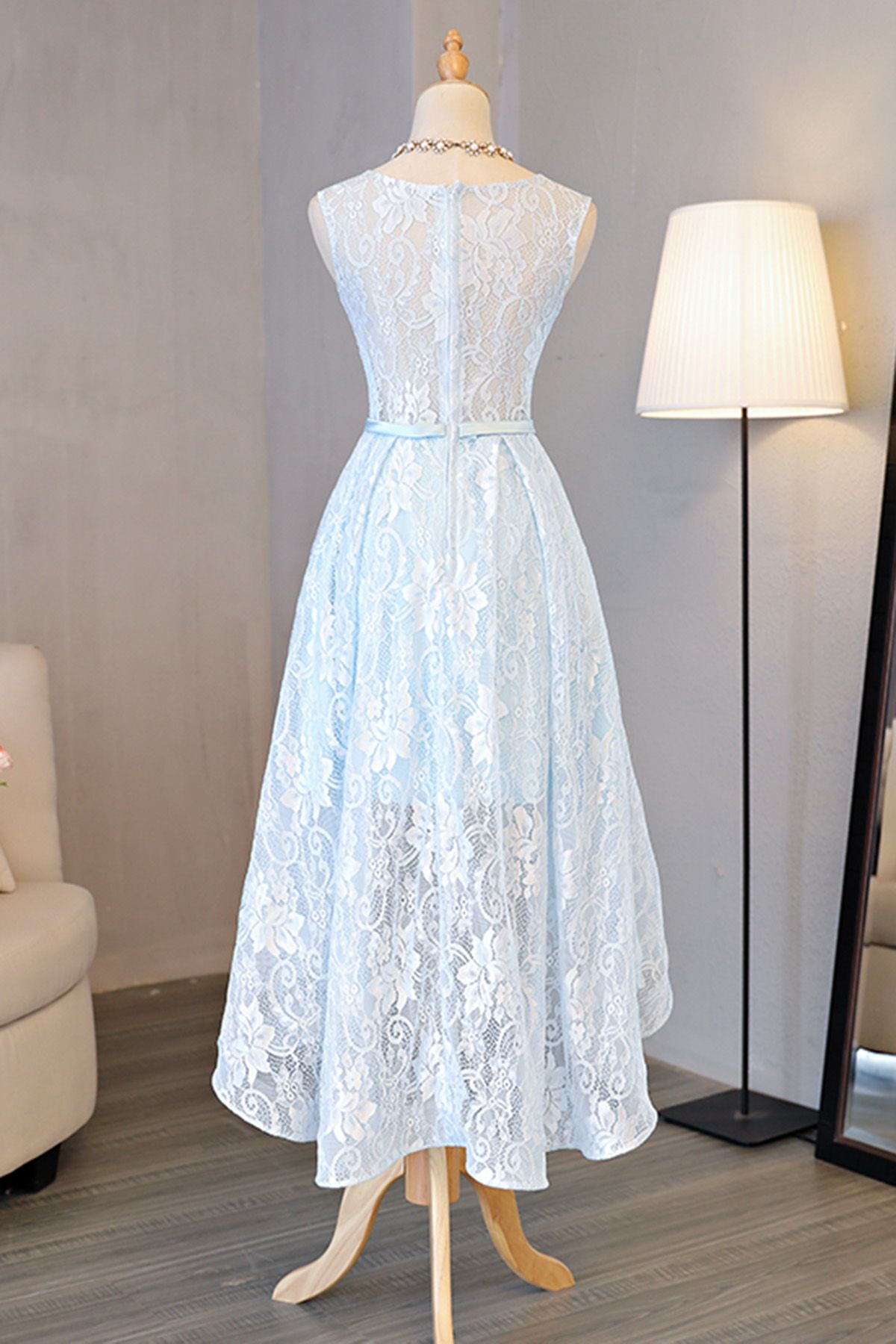 Sexy lace evening dresssleeveless light blue prom dresselegant