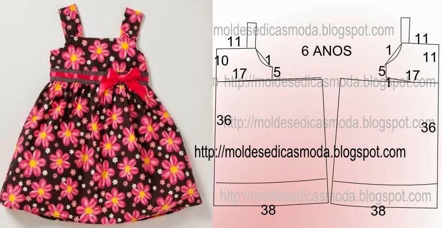 43a94d06ae Vestido de criança floral para a idade de 6 anos com medidas ...