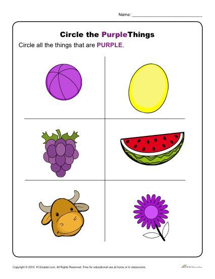 Circle the Purple Things Color worksheets for preschool