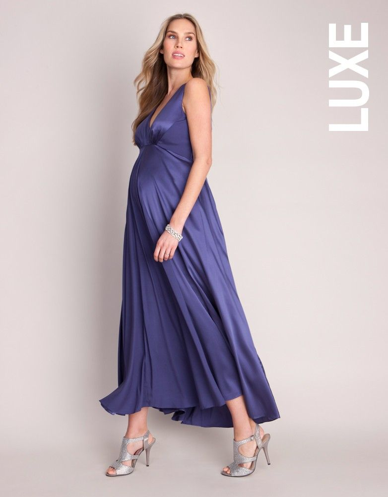 Violet Silk Maternity Gown   Mom dress, Silk crepe and Silk
