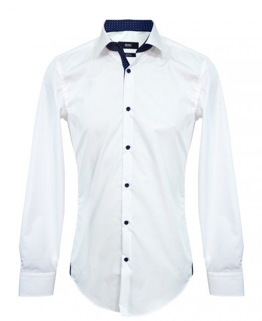 0842783a6 Hugo Boss Shirt Juri In White Navy Trim , Contrast Buttons Slim Fit , Easy  Iron 100% Cotton , Machine Washable 40 Degrees