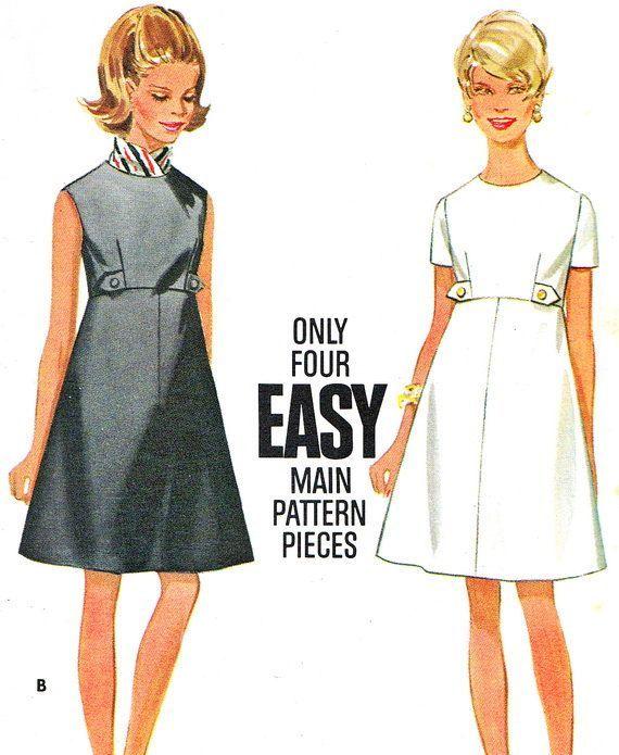 Butterick 4997 Mod Empire Waist A Line Day or Evening Dress Womens ...