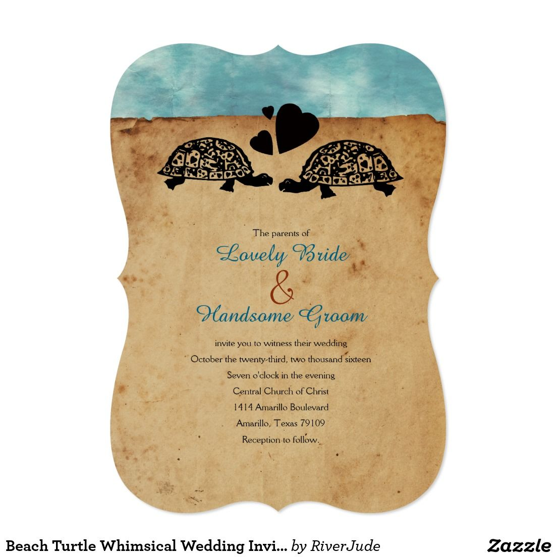 Beach wedding in texas  Beach Turtle Whimsical Wedding Invitation  Turtle Prints