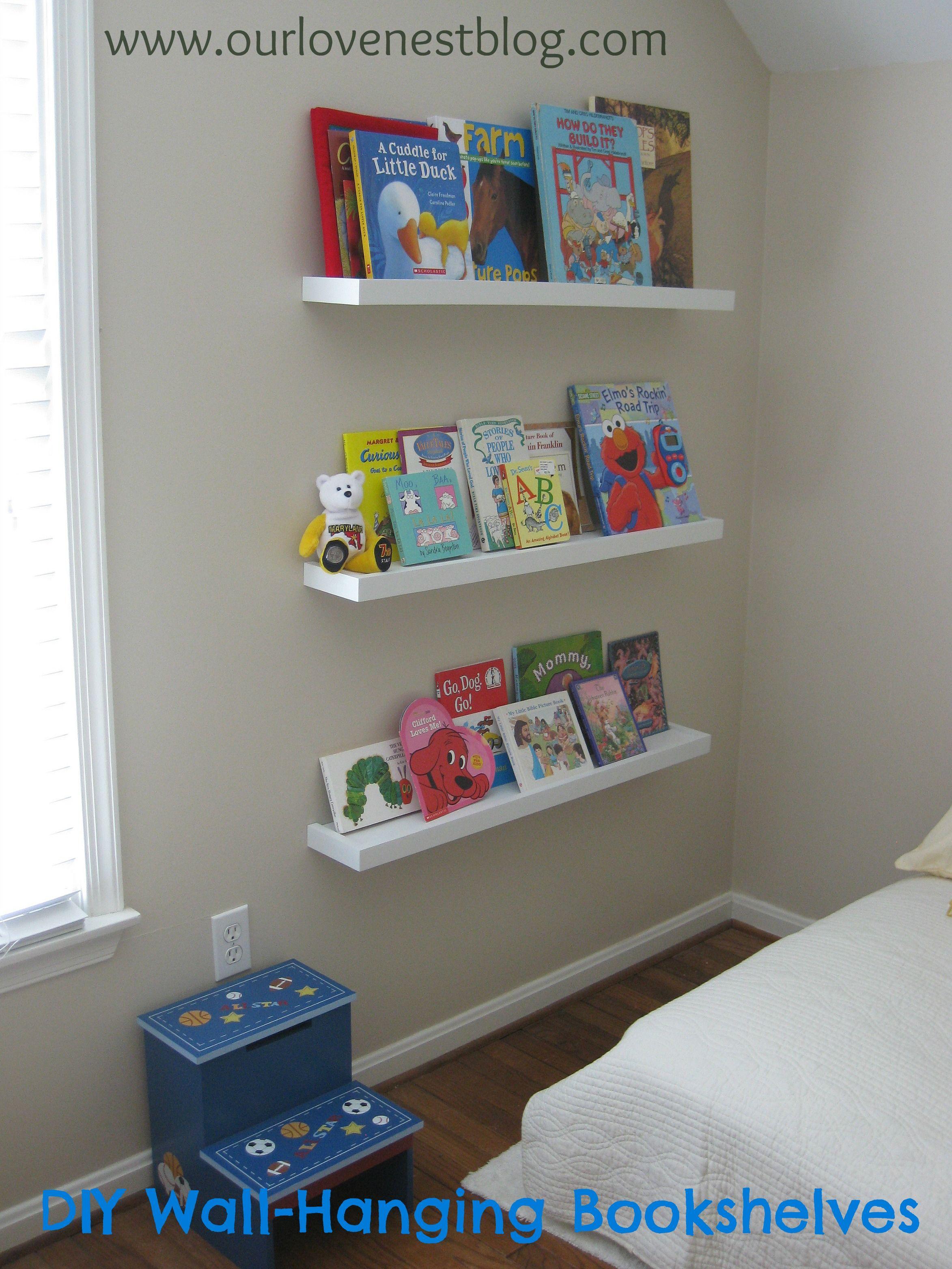 diy wall hung childrens bookshelves wwwourlovenestblogcom - Childrens Bookshelves