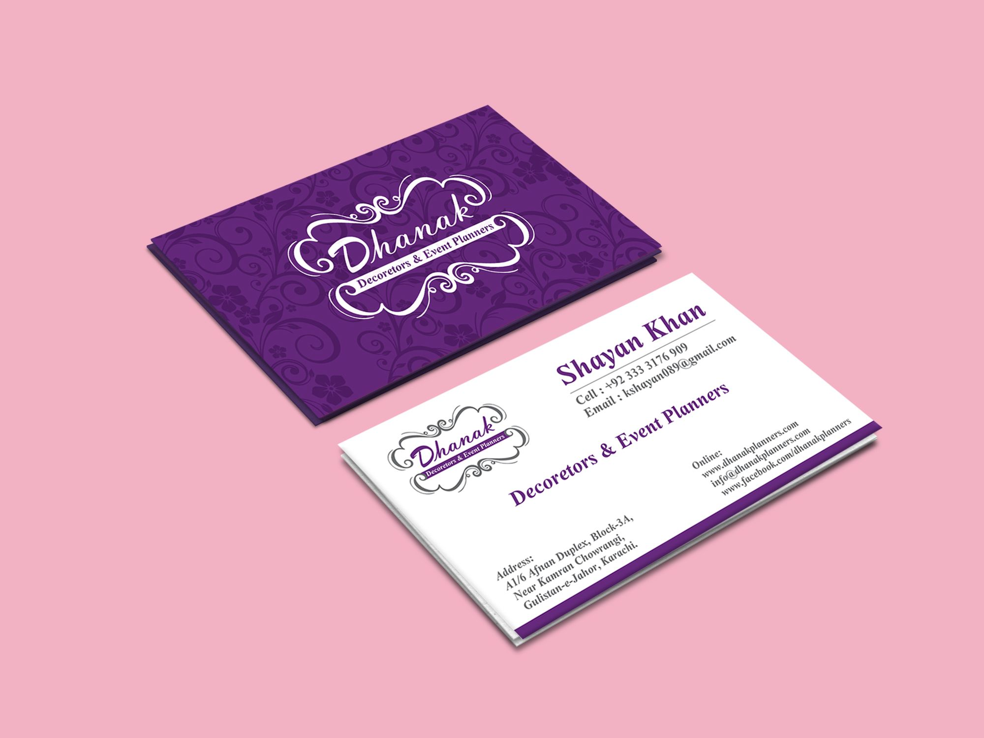 Check Out My Behance Project Dhanak Event Management Visiting Cards Https Www Behance Net Gallery 48 Visiting Cards Visiting Card Design Event Management