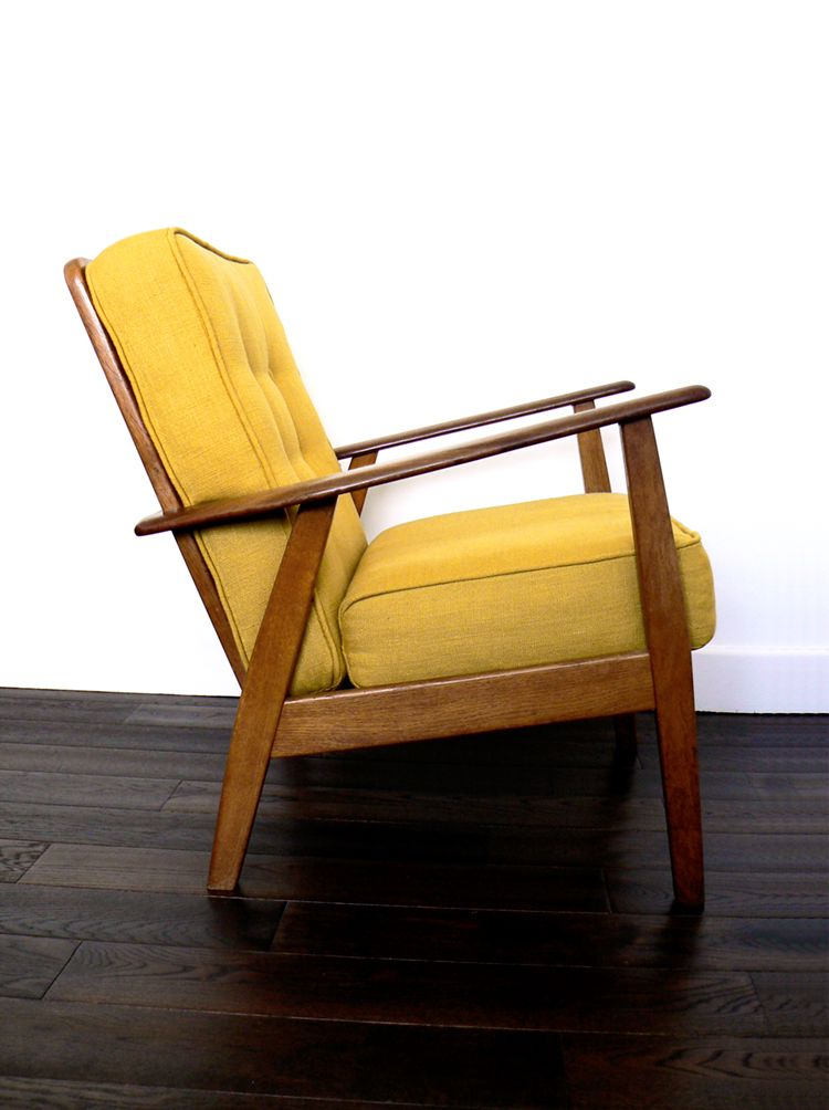 Yellow Upholstered Retro Chair Vintage 1960s Piping And