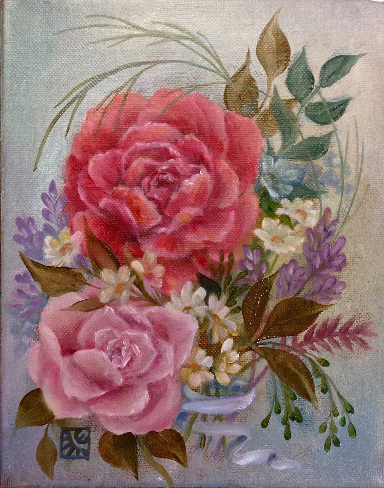 Cynthia Emerlye, Vermont artist - red and pink roses. flower bouquet ...