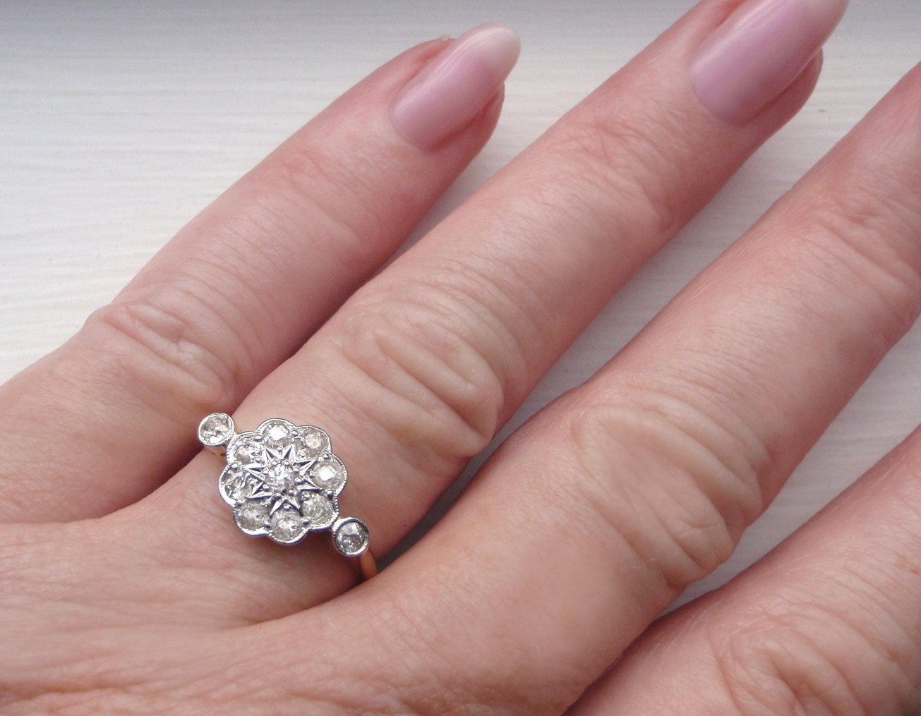 Vintage Engagement Ring Cushion Cut & Rose by SweetHeirloomVintage ...