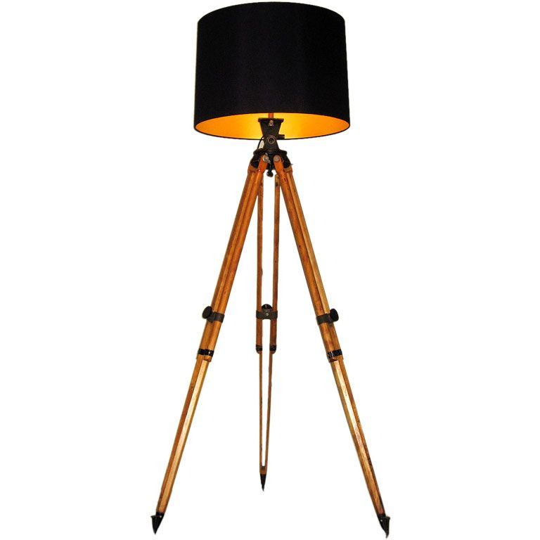 Surveryor tripod floor lamp u s a 1940s a large adjustable floor lamp made from an antique wood