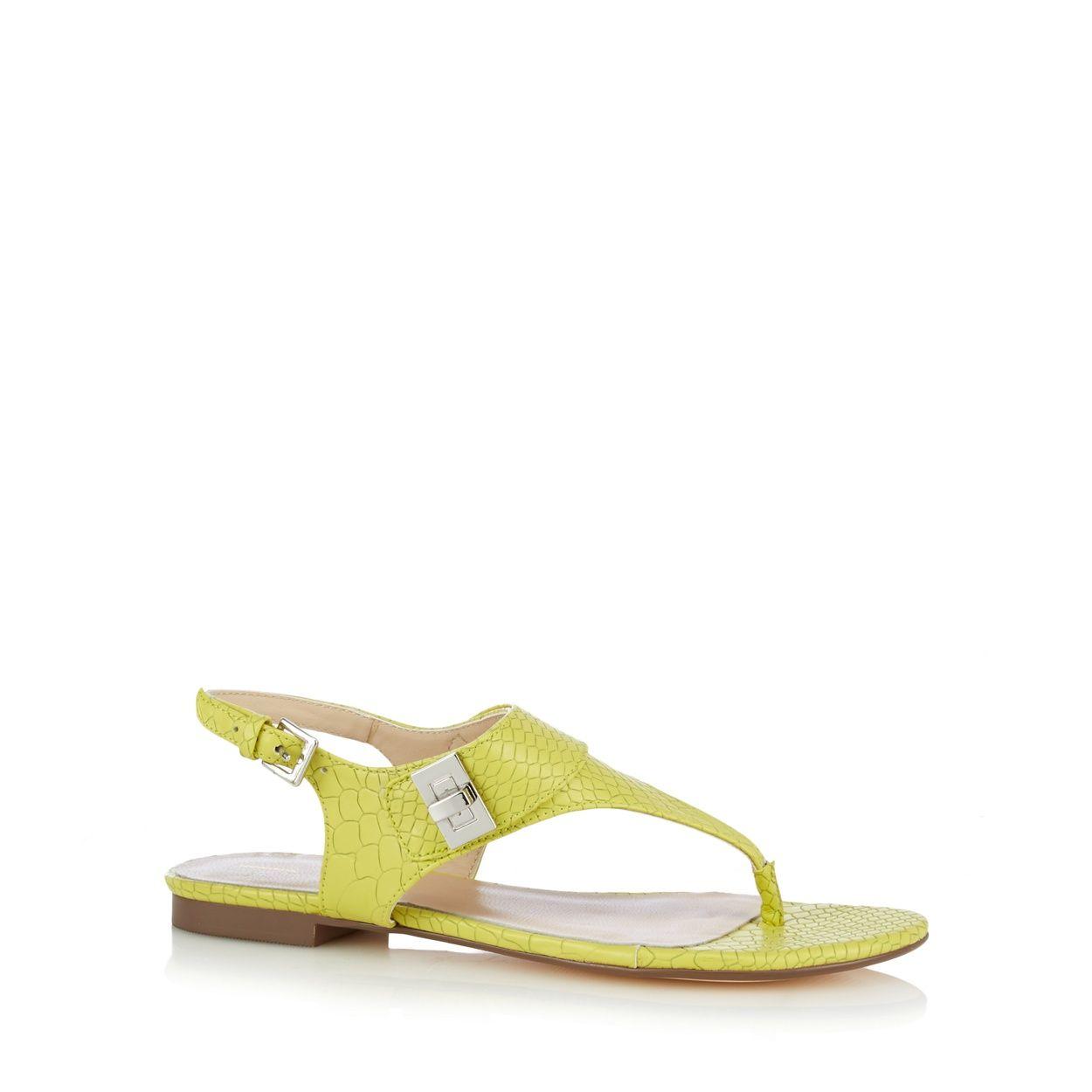 Designer lime mock croc sandals at