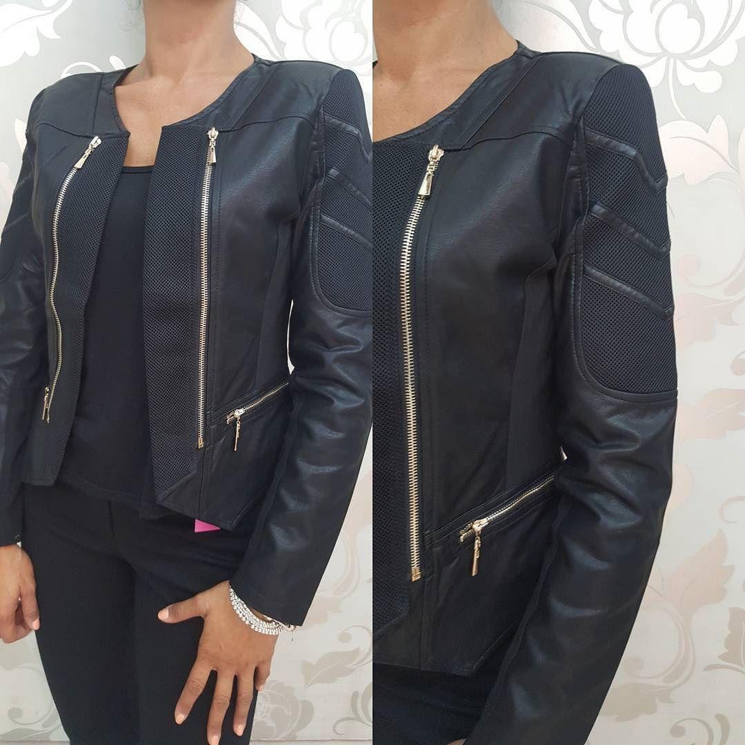 competitive price e1983 52d72 ecopelle nero Giubbino valeria Nuovi abbigliamento zip oro R46Aq