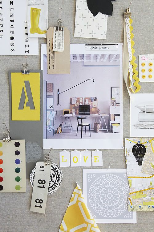 yellow and grey office inspiration board. Pretty sure mine will be looking just like this!