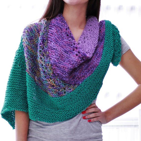 Knitting pattern, Patron tricot PDF – Chloe Shawl, hand knitted multicolor  reversible lace shawl, ea e647a8737a71
