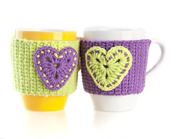 Set of 2 Hand Crocheted Mug Warmers. Cup por LittleKnittedThing, $22 ...