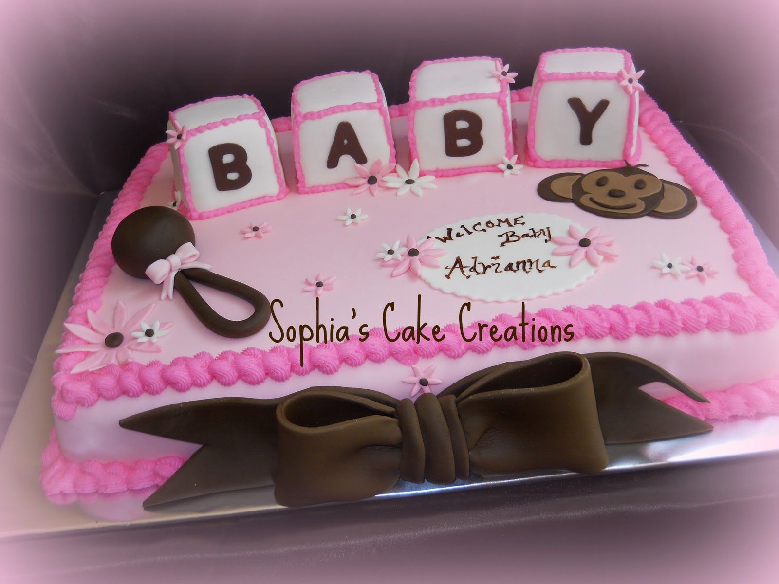 Pink And Brown Cake Baby Shower Cakes Simple Baby Shower Baby