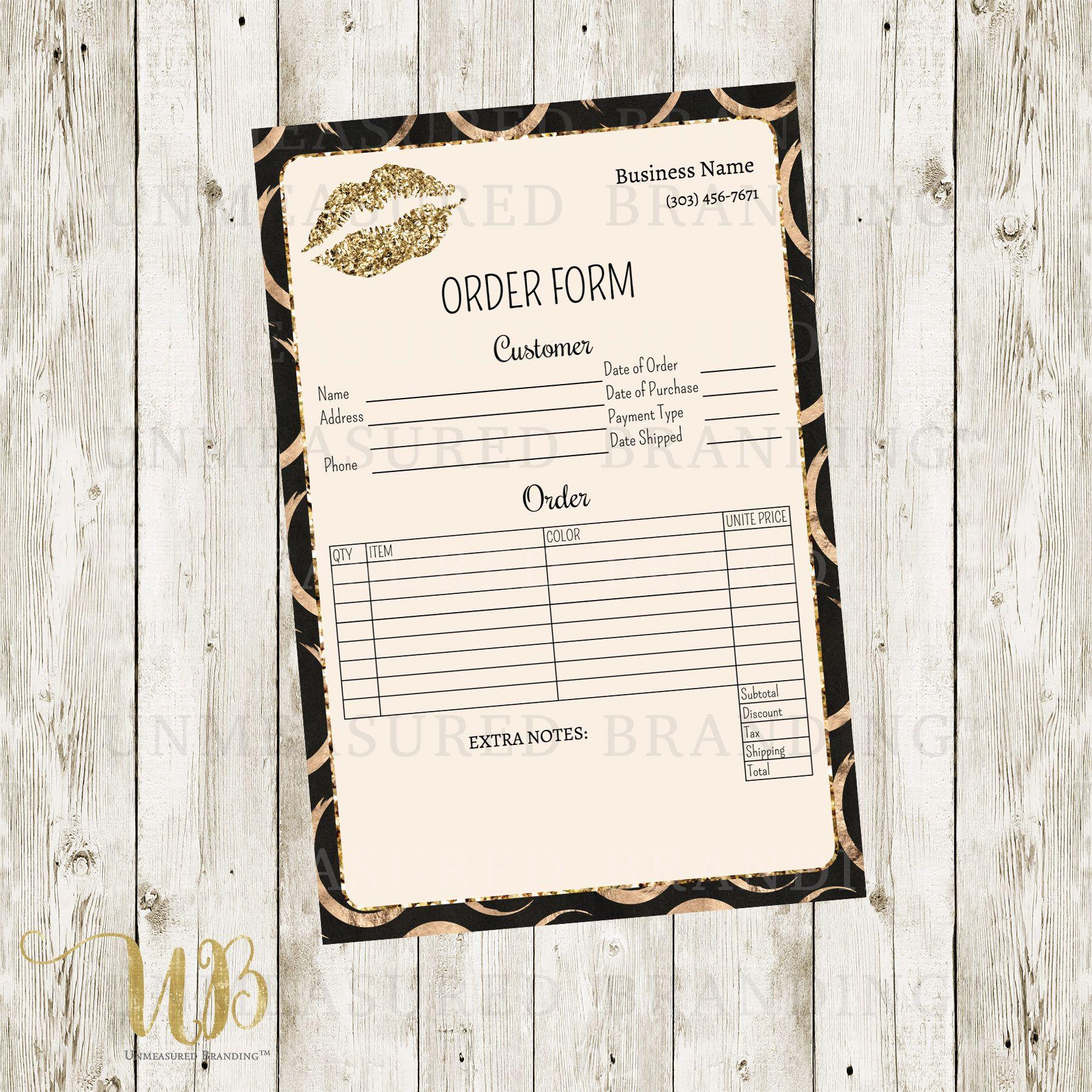 LipSense Order Form Printable, SeneGence Order Form, LipSense ...