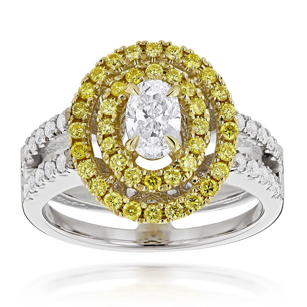 440d9ea888 Unique 18K 2 Tone Gold Oval Diamond Engagement Ring White & Yellow Diamonds