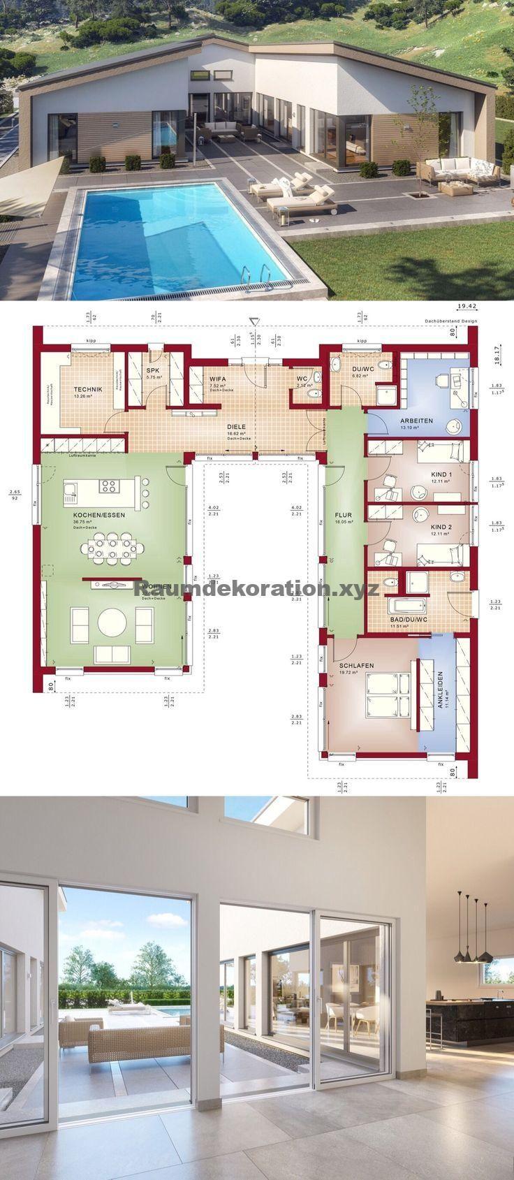 Architektur Ideen Bungalow Haus Mit Satteldach Architektur Innenhof 5 Zimmer Grundriss Ebenerdi Architecture Courtyard Building A House Architecture House