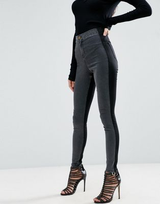 ASOS Rivington High Waisted Denim Jeggings in Tonal Black and Washed Black