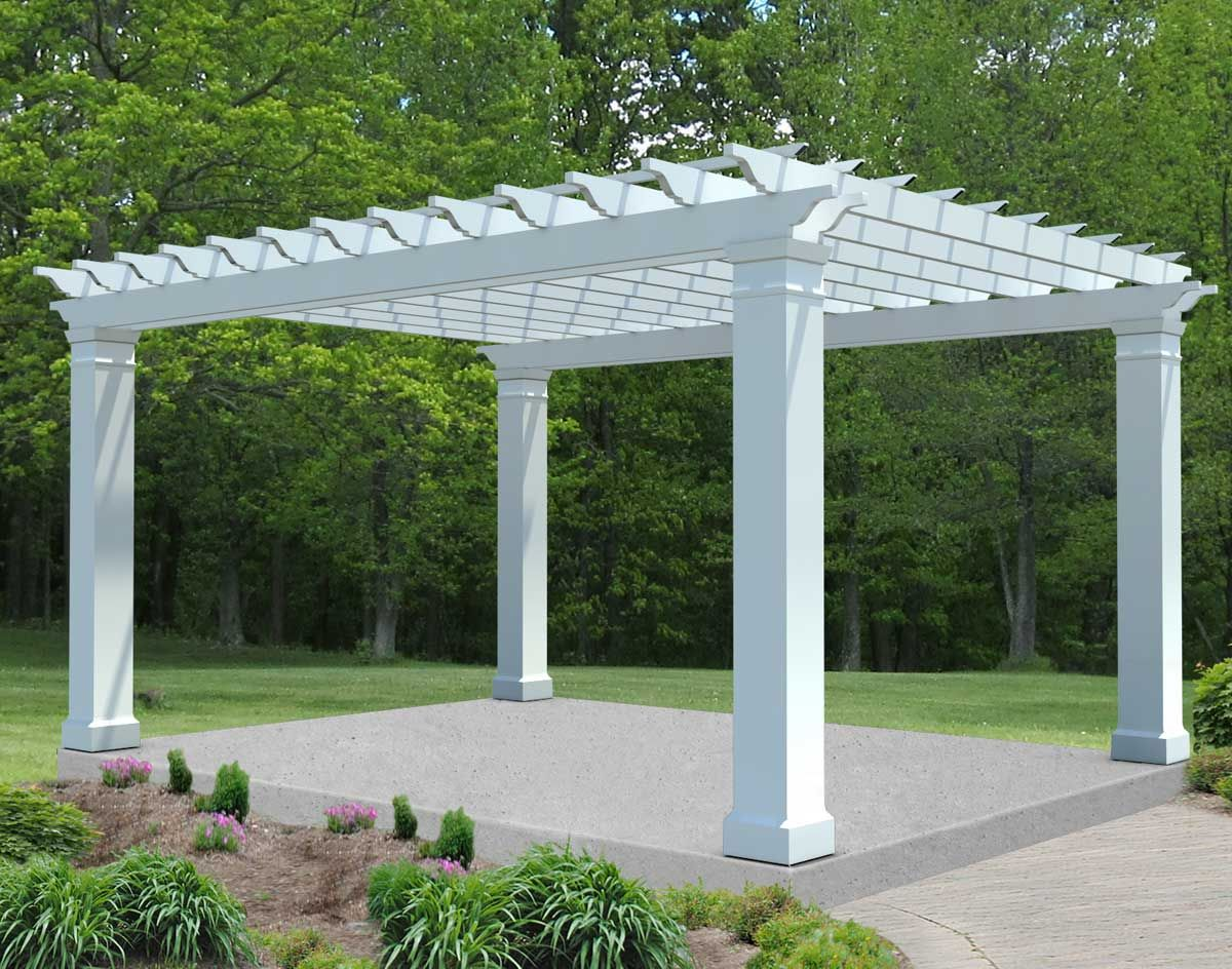 Fiberglass Free Standing 2 Beam Pergolas Light Weight And Can Be Painted Any Color We Want Might Be The Best Optio Pergola Pergola Designs Deck With Pergola
