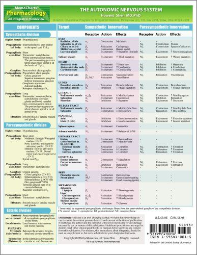 Memocharts Pharmacology The Autonomic Nervous System Review