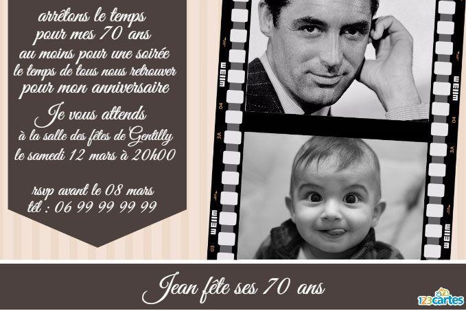 carte invitation anniversaire 70 ans Épinglé sur Anniversaires cinéma