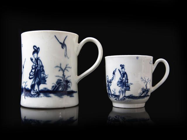 A Worcester coffee cup and a small mug, circa 1760-65.