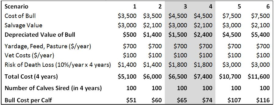 Costs of siring calves artificial insemination compared