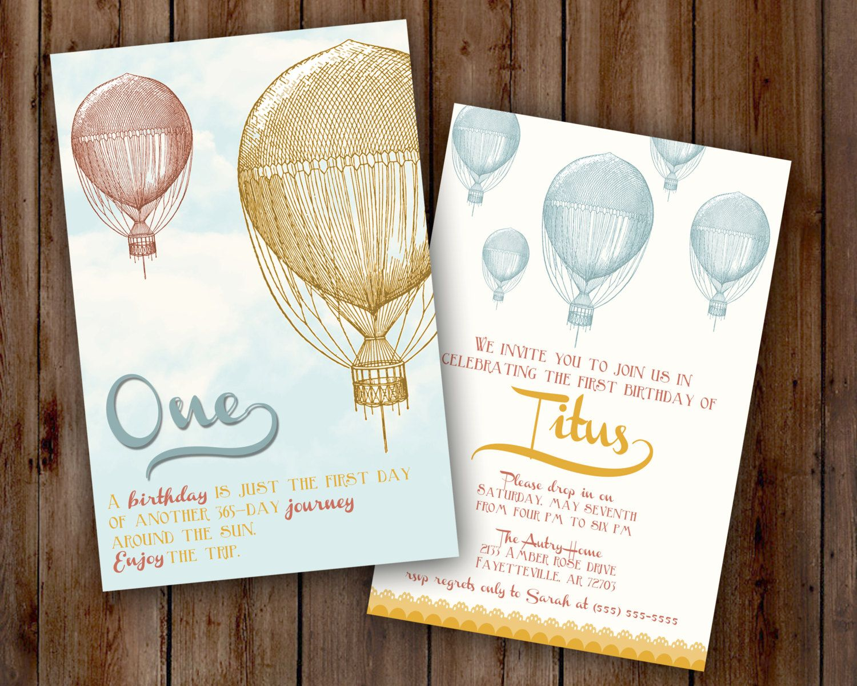 Vintage Hot Air Balloon Birthday Party Invitation-circus, carnival ...