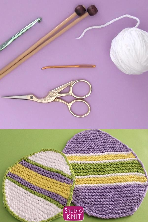 Photo of Easter Egg Dishcloth Knitting Pattern