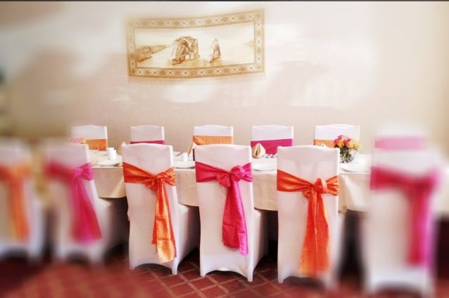 Simply Gorgeous Our White Spandex Chair Covers And Fuchsia Orange
