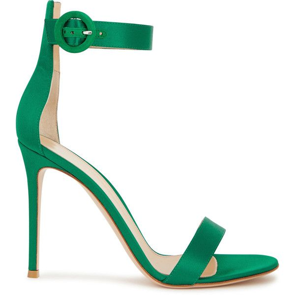 296cb0f1d18 Gianvito Rossi Portofino green satin sandals (£535) ❤ liked on Polyvore  featuring shoes