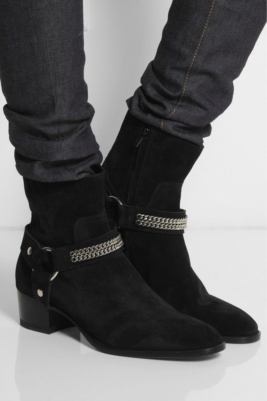 Saint Laurent - Chain-trimmed suede ankle boots